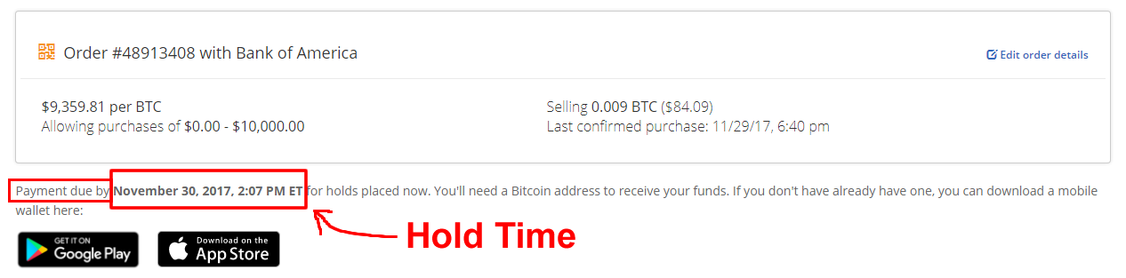 BitQuick order details with hold time