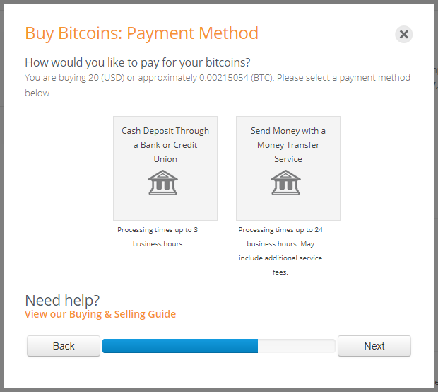 Payment methods to select when using the BitQuick Quick Buy app for bitcoins.